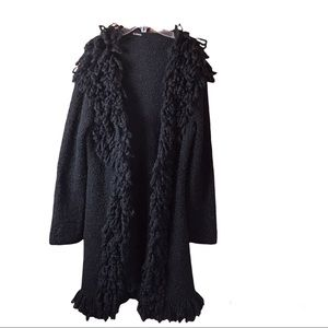 Le Chateau Long Sweater Coat Jacket Wool Blend Large Shawl Collar Fluffy Cozy M